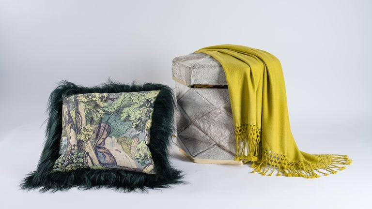 French Green Sheepskin Fur and Exclusive Fabric Pillow For Sale