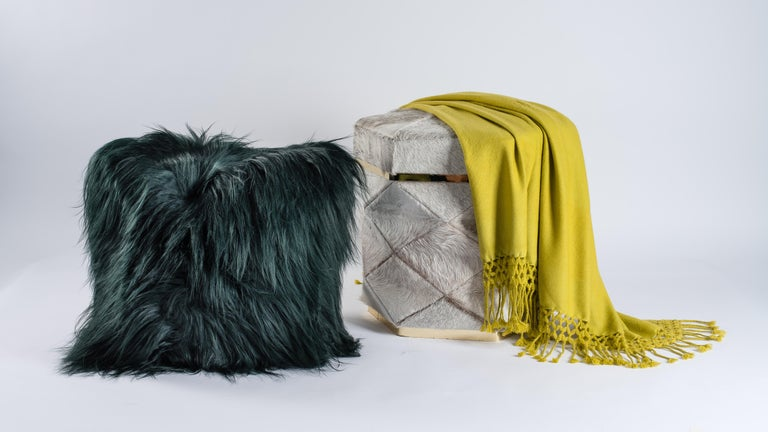 Hand-Crafted Green Sheepskin Fur and Exclusive Fabric Pillow For Sale
