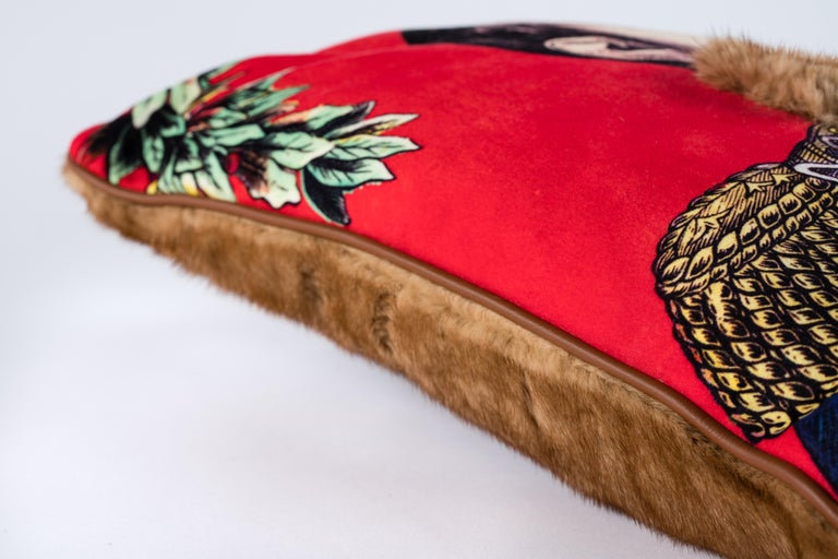 French Mink and Velvet Pillow, Printed Napoleon For Sale