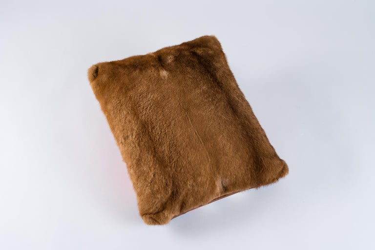 Hand-Crafted Mink and Velvet Pillow, Printed Napoleon For Sale