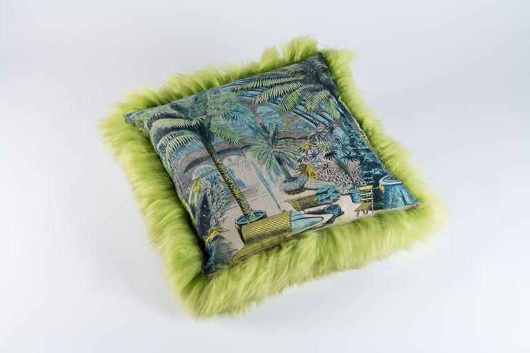 Wonderful and exclusive pillow Light green sheepskin Exclusive fabric en linen - Maison Images d'Epinal Feather cushions.
