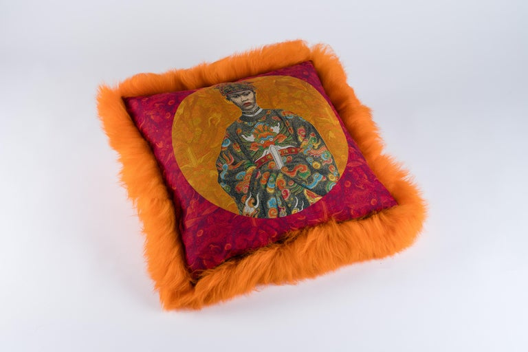 Dyed orange sheepskin Exclusive fabric in linen, Maison images d'Epinal Feather cushion.