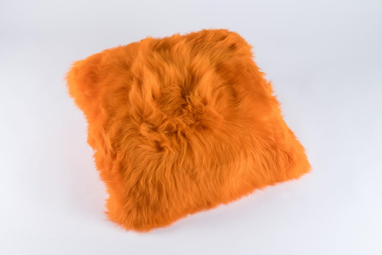French Pair of Orange Sheepskin and Exclusive Fabric Pillows For Sale