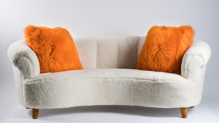 Contemporary Pair of Orange Sheepskin and Exclusive Fabric Pillows For Sale
