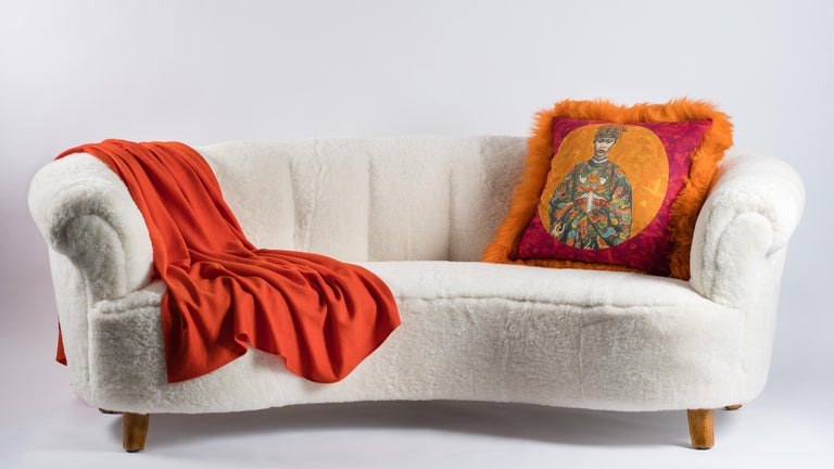 Pair of Orange Sheepskin and Exclusive Fabric Pillows For Sale 1