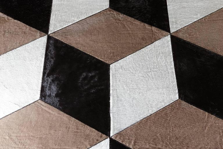 "Hair-on-Hide Rug ""Milan"" - Natural White, Taupe and Black 3"