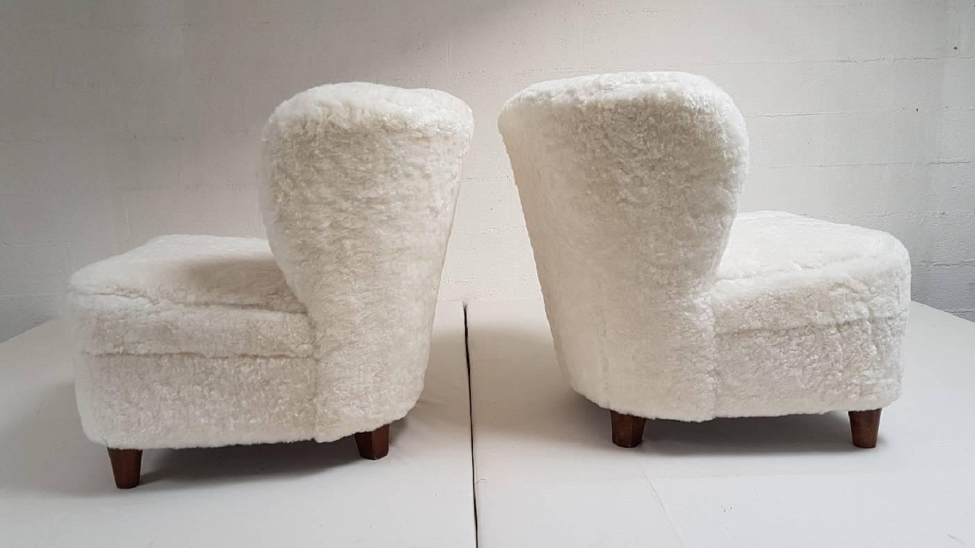 Pair Of Scandinavian Vintage Armchairs Circa 1900, Lambskin Upholstery At  1stdibs