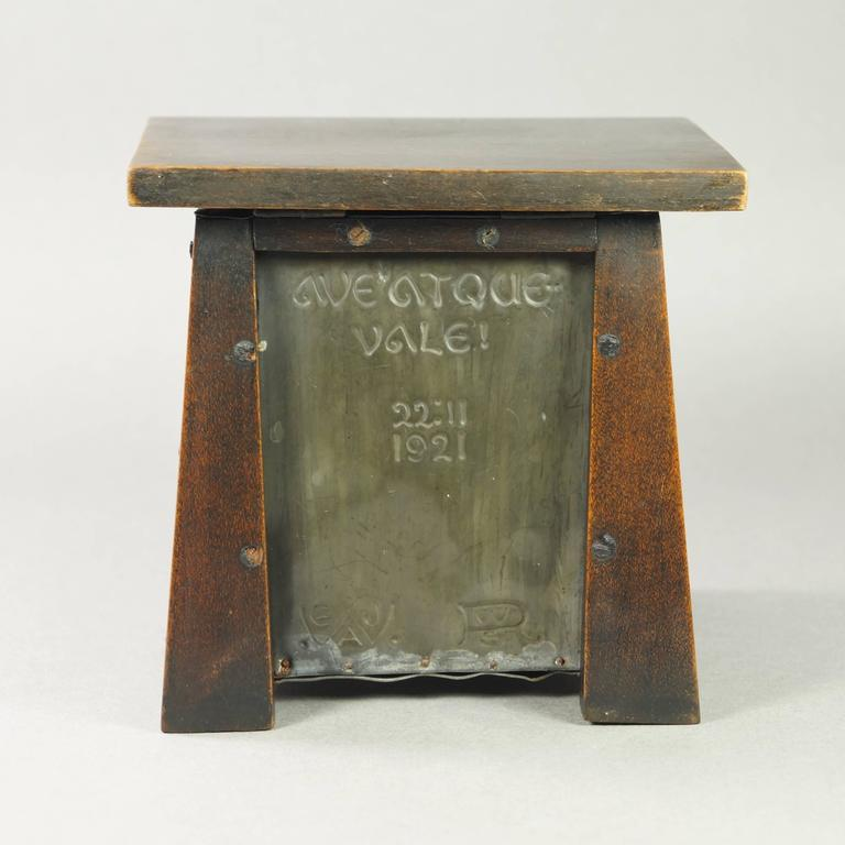 20th century pewter arts and crafts movement watch holder