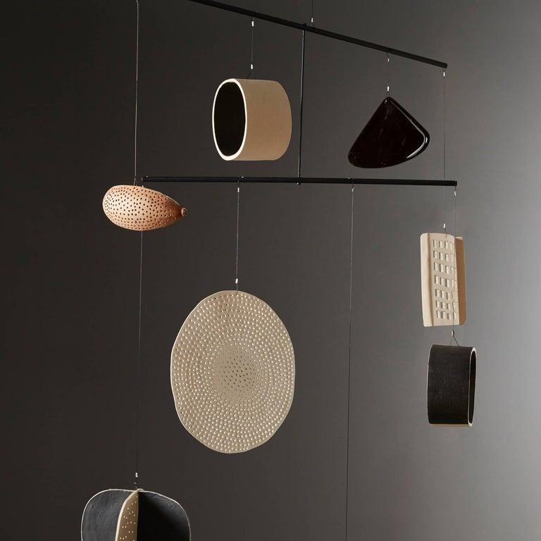Modern Large Handmade Ceramic, Glass, Gourd Mobile by Daniel Reynolds the New Craftsmen For Sale