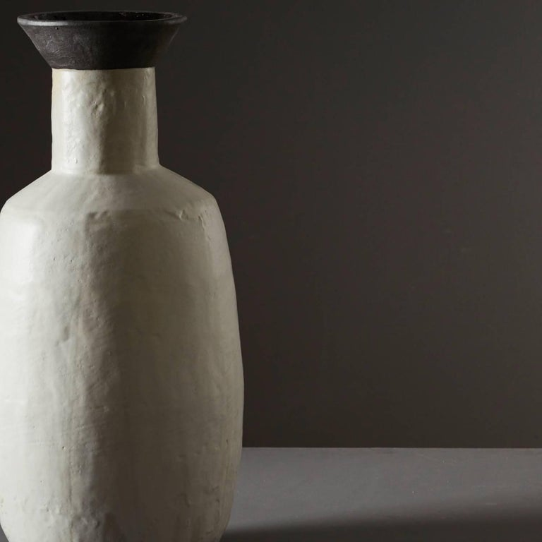British Large Handmade Grey and Black Ceramic Flared Stoneware Vase by Daniel Reynolds For Sale