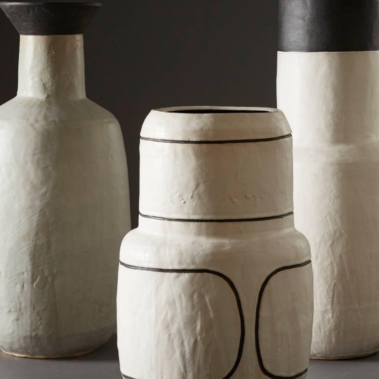 Contemporary Large Handmade Grey and Black Ceramic Flared Stoneware Vase by Daniel Reynolds For Sale