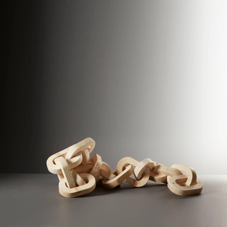 Modern Hand-Carved Pinewood Chain Sculpture by Anastasya Martynova the New Craftsmen For Sale