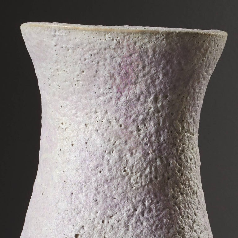 British Handmade White Stoneware Vase Pink Snow Vessel by Iva Polachova For Sale