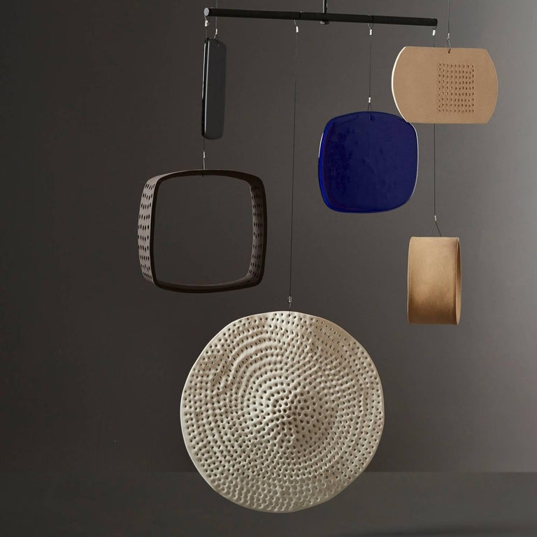 Modern Large Handmade Ceramic and Glass Mobile by Daniel Reynolds the New Craftsmen For Sale