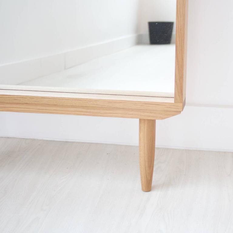 Solid White Oak Leaning Modern Floor Mirror 2