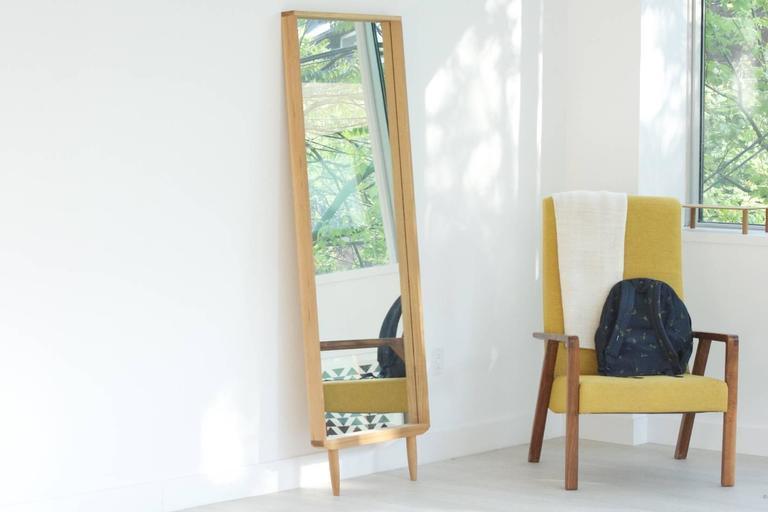 Solid White Oak Leaning Modern Floor Mirror 3
