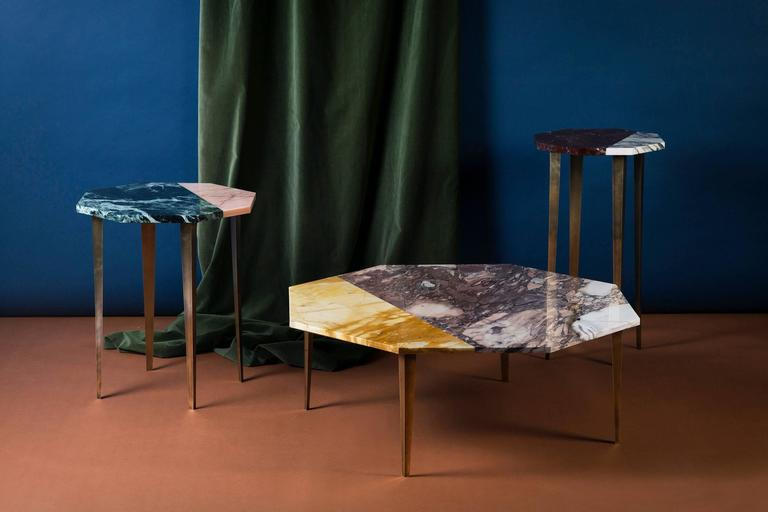 Thierry side table, 45 x 52cm. Verde St Denis and Rose Aurora marble, brass.