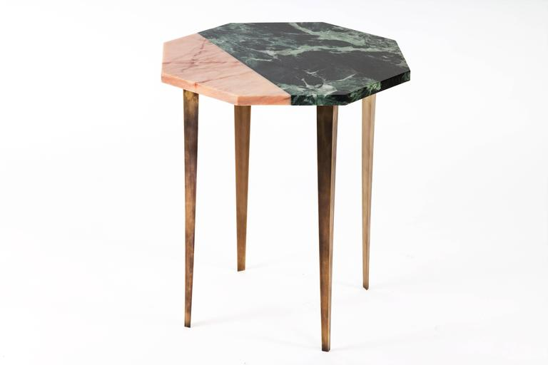 Modern Octagonal Side Table with Green and Pink Marble Top and Tapering Brass Legs For Sale
