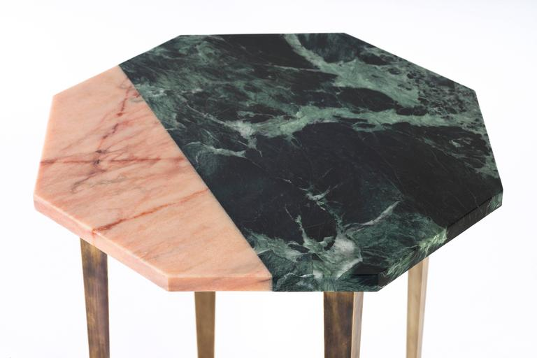 Octagonal Side Table with Green and Pink Marble Top and Tapering Brass Legs In Excellent Condition For Sale In London, GB