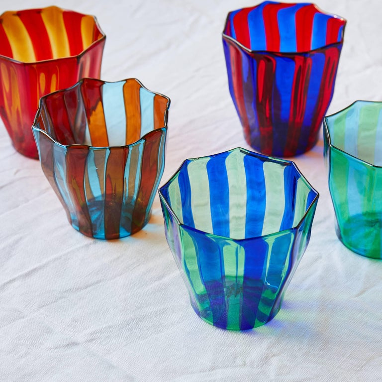 Campbell-Rey Octagonal Striped Tumbler in Red and Blue Murano Glass In New Condition For Sale In London, GB