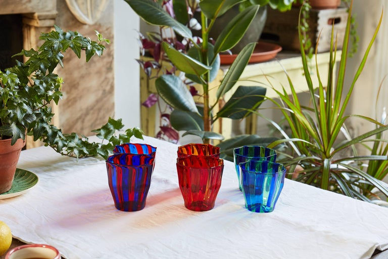 Contemporary Campbell-Rey Octagonal Striped Tumbler in Red and Blue Murano Glass For Sale