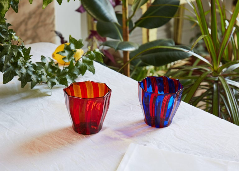 Italian Campbell-Rey Octagonal Striped Tumbler in Red and Blue Murano Glass For Sale