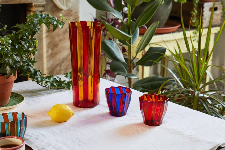 Italian Campbell-Rey Octagonal Striped Carafe in Red and Amber Murano Glass For Sale