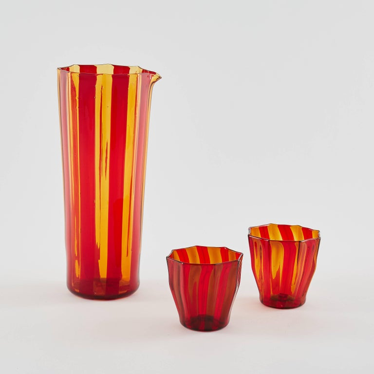 Faceted Campbell-Rey Octagonal Striped Carafe in Red and Amber Murano Glass For Sale