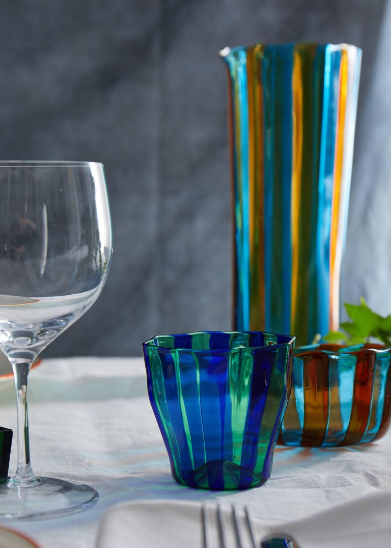 Contemporary Campbell-Rey Octagonal Striped Carafe in Green and Turquoise Murano Glass For Sale