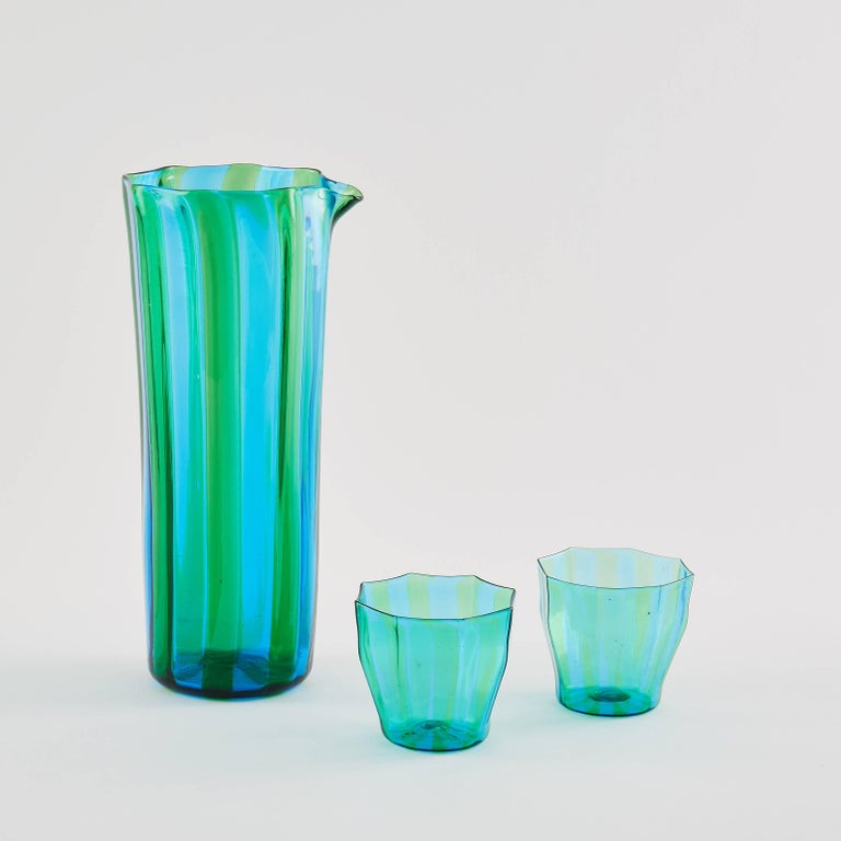 Faceted Campbell-Rey Octagonal Striped Carafe in Green and Turquoise Murano Glass For Sale