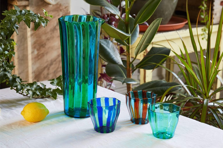 Italian Campbell-Rey Octagonal Striped Carafe in Green and Turquoise Murano Glass For Sale