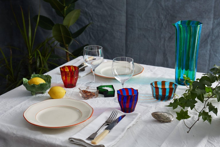 Campbell-Rey Octagonal Striped Carafe in Green and Turquoise Murano Glass In New Condition For Sale In London, GB