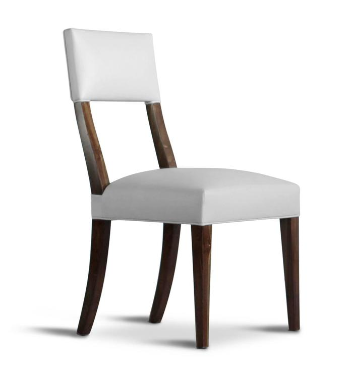 Modern Luca High-Back Dining Chair from Costantini in Argentine Rosewood and Leather For Sale