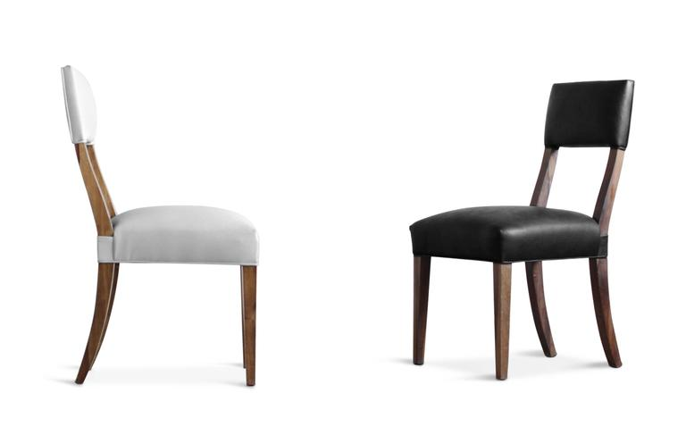 Luca High-Back Dining Chair from Costantini in Argentine Rosewood and Leather In New Condition For Sale In New York, NY