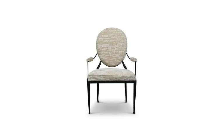 Modern Andre Forged Iron and Upholstered Chair from Costantini, Customizable For Sale