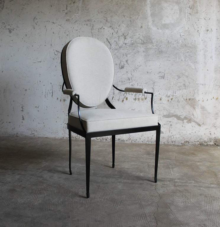 Contemporary Andre Forged Iron and Upholstered Chair from Costantini, Customizable For Sale