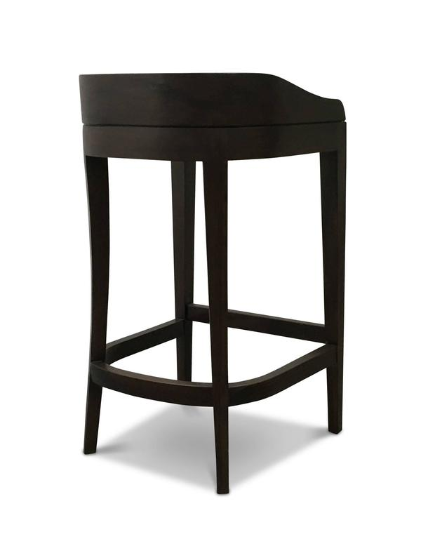 Modern Pia Stool in Argentine Rosewood and Wrapped Leather from Costantini For Sale