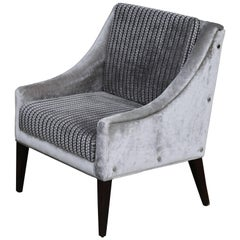 Lucina Lounge Chair with Arms and Buttons, in Fabric from Kravet by Costantini