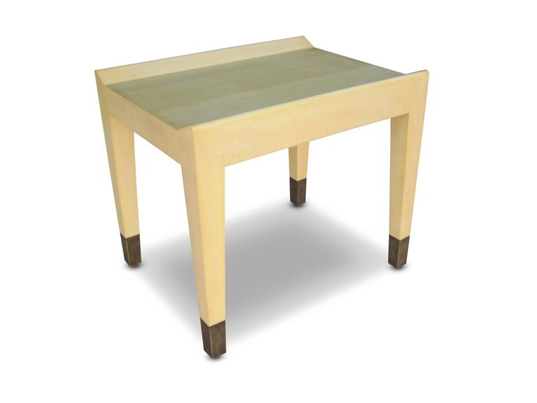 Modern Gianfranco Quilted Sycamore Side Tables with Bronze Sabots from Costantini For Sale