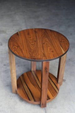 Ottavia Contemporary Round Solid Wood Occasional Table in with Steel Detail