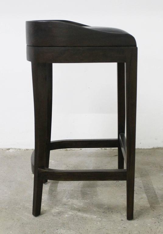 Contemporary Pia Stool in Argentine Rosewood and Wrapped Leather from Costantini For Sale
