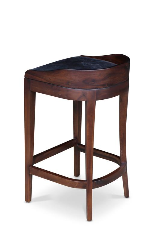 Pia Stool in Argentine Rosewood and Wrapped Leather from Costantini For Sale 1