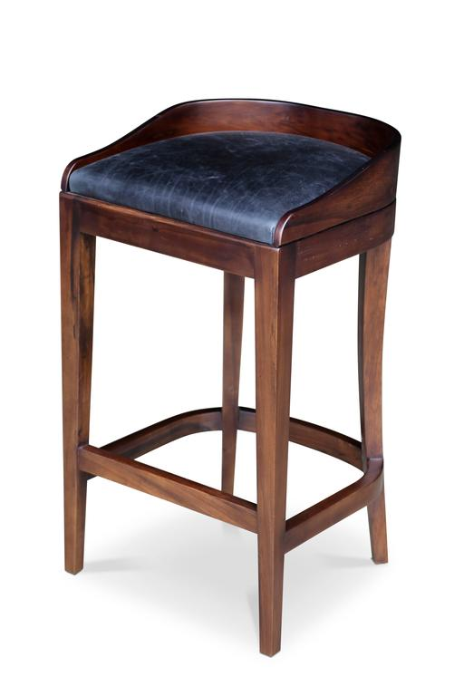 Pia Stool in Argentine Rosewood and Wrapped Leather from Costantini For Sale 2