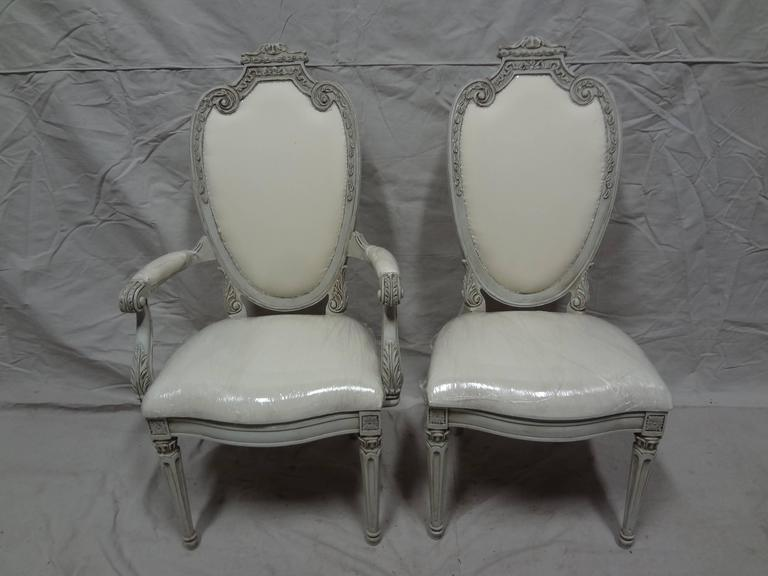 This is a very unique set of six Gustavian dining chairs, I was told in Sweden they where called