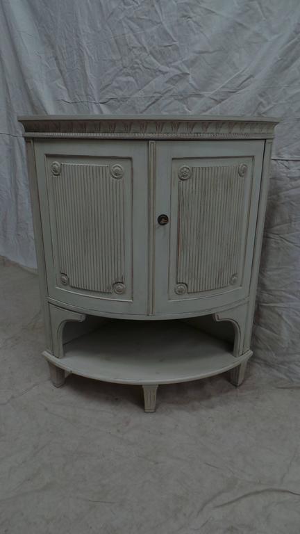 Birch Swedish Gustavian Corner Cabinet For Sale