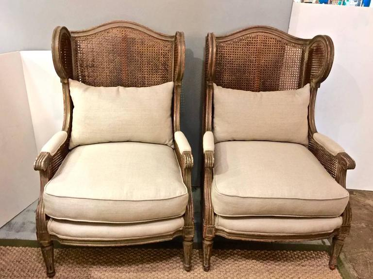 Superieur This Is A Rare Pair Of Early 20th Century Double Caned Louis XVI Style Wing