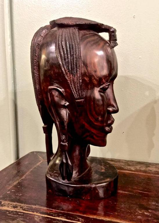 Tribal 20th Century Carved African Female Bust For Sale