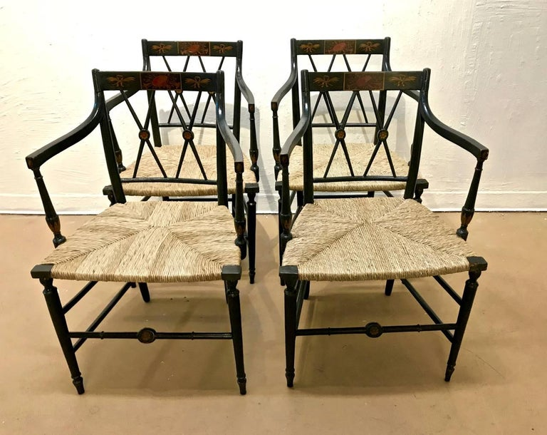 Regency Painted Arm Chairs, Set of Four In Good Condition For Sale In Pasadena, CA