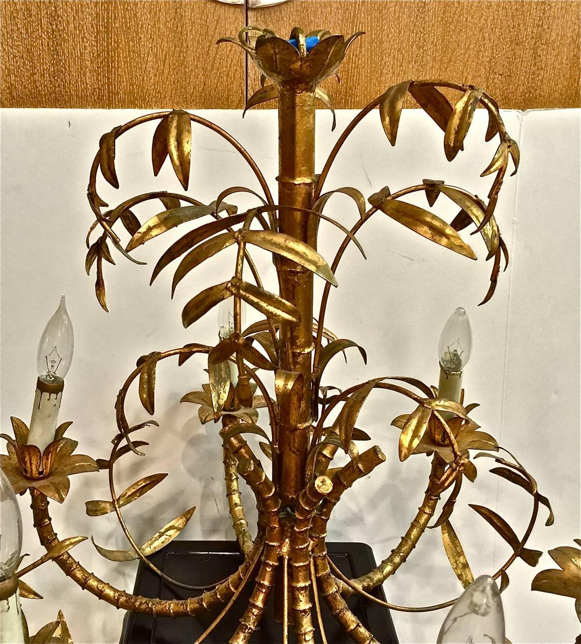 Mid century gold leafed faux bamboo chandelier for sale at 1stdibs arubaitofo Images