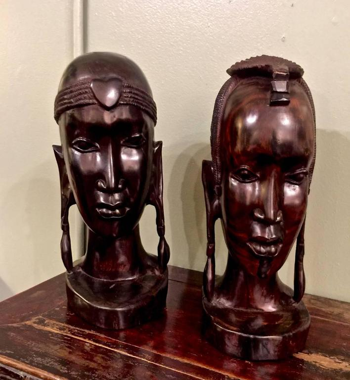 Ebony 20th Century Carved African Female Bust For Sale
